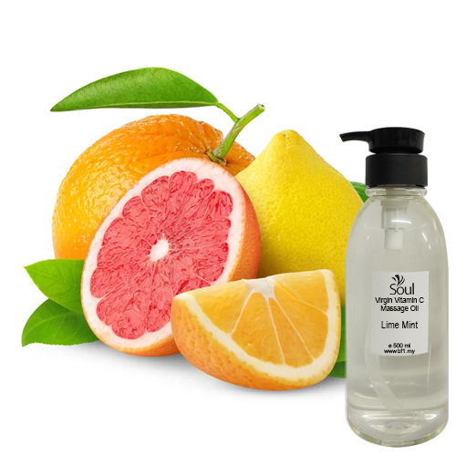 Virgin Vitamin C Massage Oil + Lime Mint EO 500ml